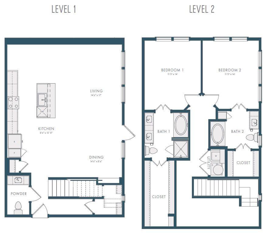 1,726 sq. ft. TH1A 2 floor plan