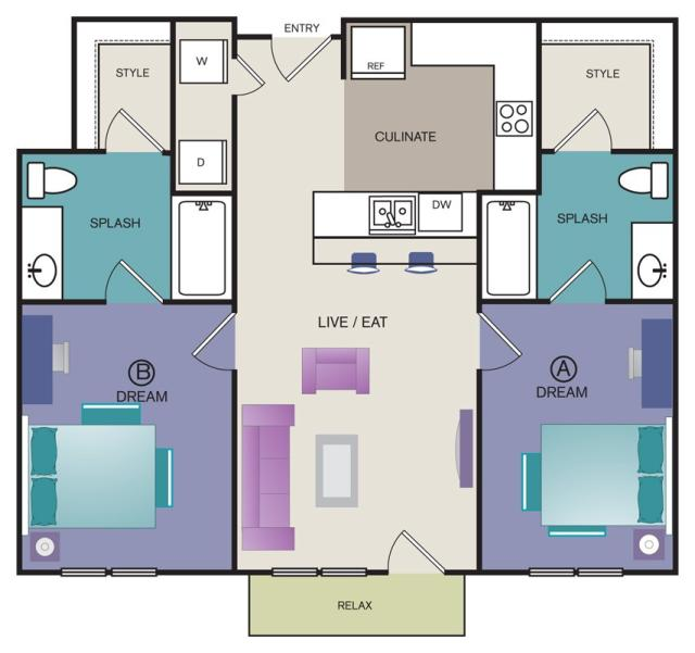879 sq. ft. B4 floor plan