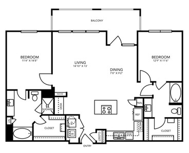 1,197 sq. ft. B5 floor plan