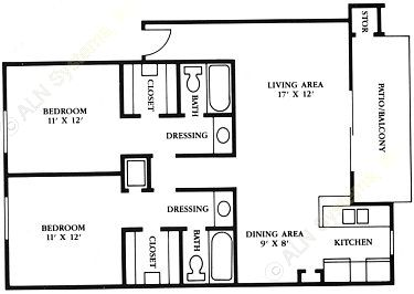 900 sq. ft. B3 floor plan