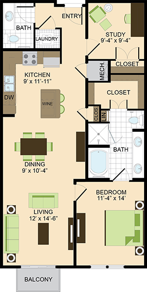 1,112 sq. ft. A4 floor plan