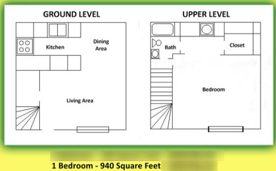 940 sq. ft. floor plan