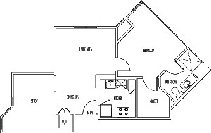 728 sq. ft. ESSEX floor plan