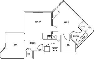 714 sq. ft. KENSINGTON floor plan