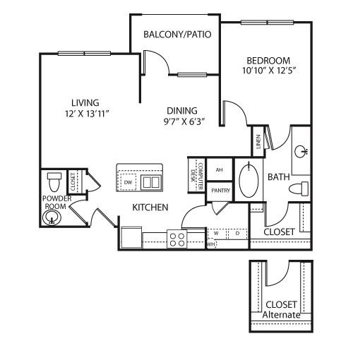 855 sq. ft. A2A floor plan