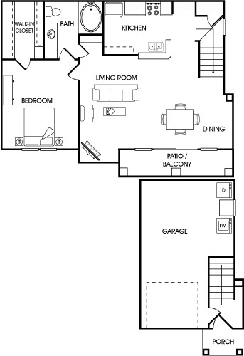873 sq. ft. Clove floor plan