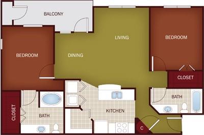1,090 sq. ft. B3 floor plan
