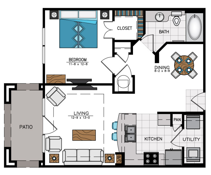 770 sq. ft. A6A floor plan