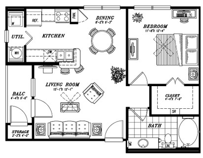673 sq. ft. E2A floor plan