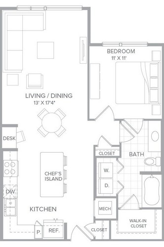 827 sq. ft. A2K floor plan