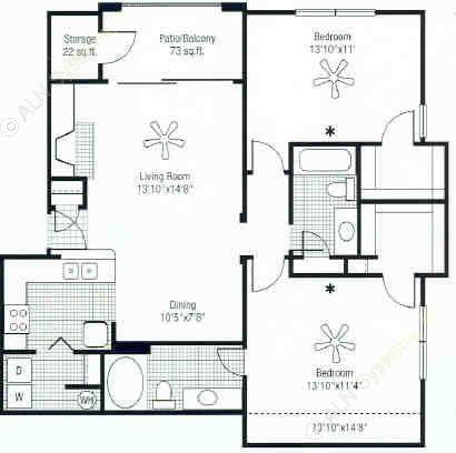 1,156 sq. ft. floor plan
