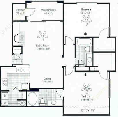 1,156 sq. ft. floor plan
