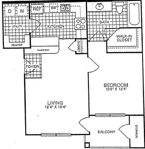 659 sq. ft. Appleton-A1 floor plan