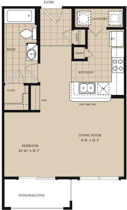 558 sq. ft. EFF floor plan