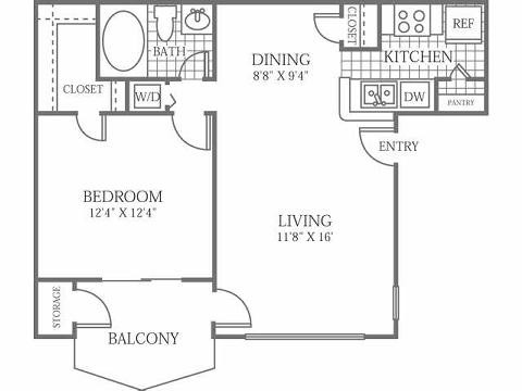 611 sq. ft. A floor plan