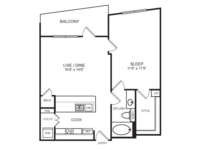 752 sq. ft. to 890 sq. ft. Lonestar floor plan