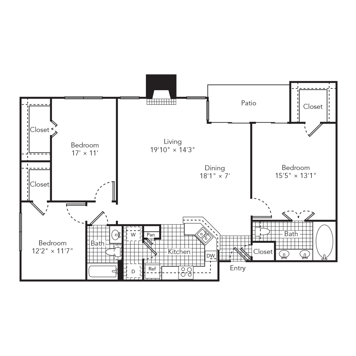 1,399 sq. ft. Rain floor plan