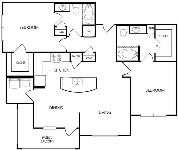 1,123 sq. ft. B3 floor plan