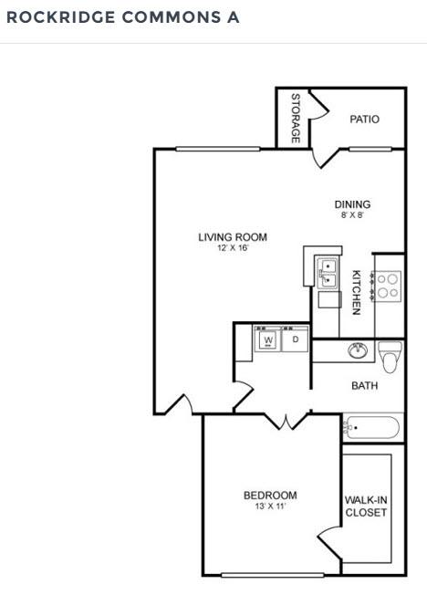 715 sq. ft. A1 floor plan