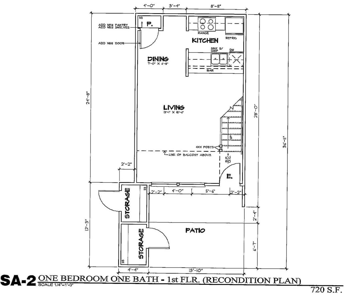 720 sq. ft. SA2/50% floor plan