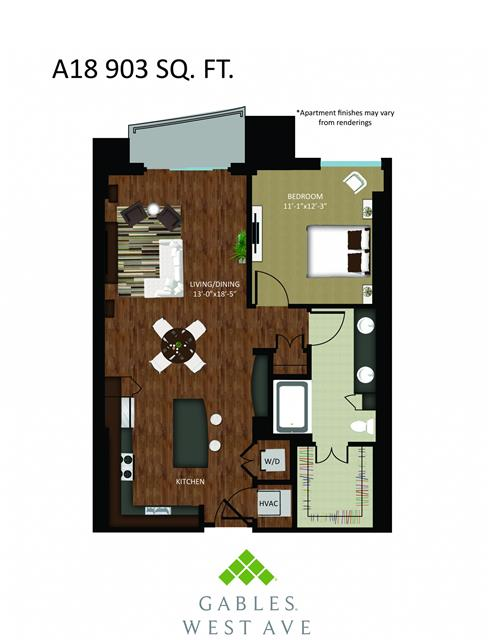 903 sq. ft. DA18 floor plan