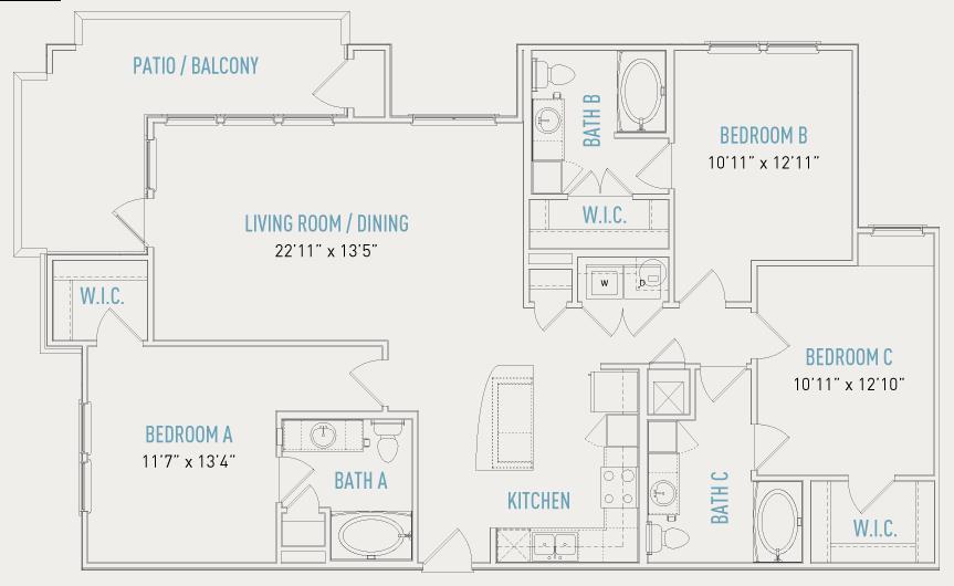 1,516 sq. ft. C1 floor plan