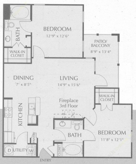 1,007 sq. ft. Guadalupe floor plan