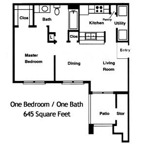 645 sq. ft. Dewberry I/60% floor plan