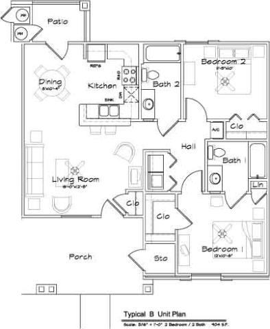 904 sq. ft. Mkt floor plan