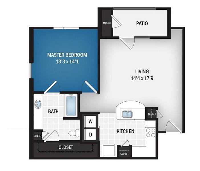 807 sq. ft. Galaxy floor plan