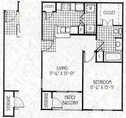 632 sq. ft. A1/60% floor plan