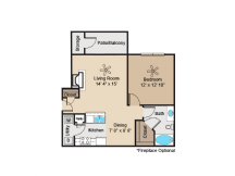 700 sq. ft. to 744 sq. ft. A1 floor plan