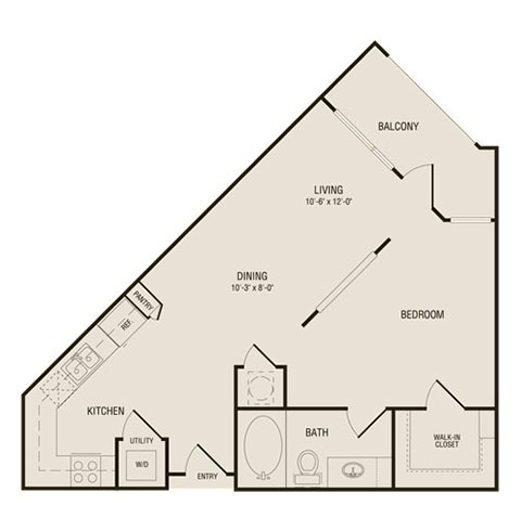 686 sq. ft. A00 floor plan