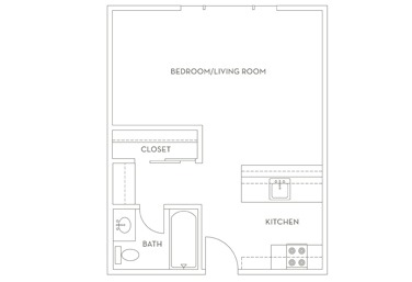 391 sq. ft. E1 floor plan