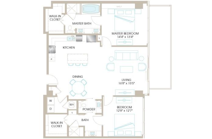1,409 sq. ft. C8P floor plan