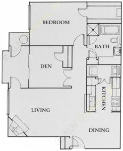 864 sq. ft. City Walk:B floor plan