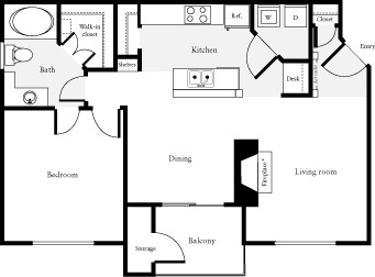 774 sq. ft. Segal floor plan
