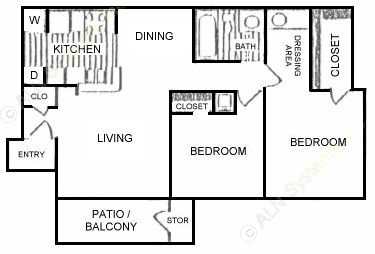 828 sq. ft. C floor plan