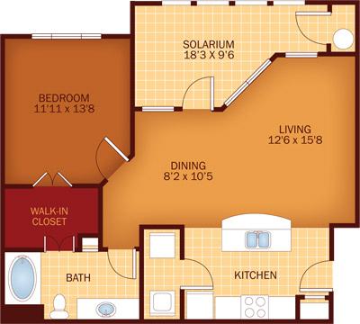 950 sq. ft. A1CR floor plan