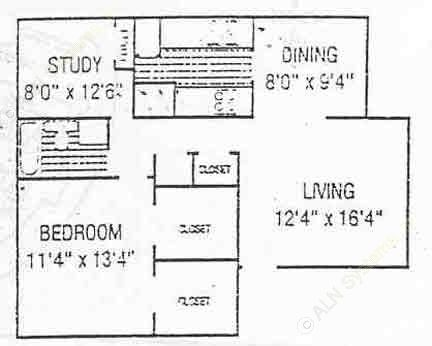 813 sq. ft. A3 floor plan