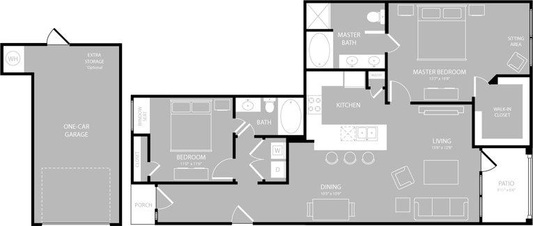 1,260 sq. ft. Operetta floor plan