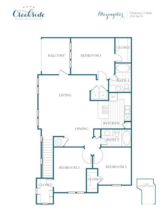 1,361 sq. ft. Blazingstar floor plan