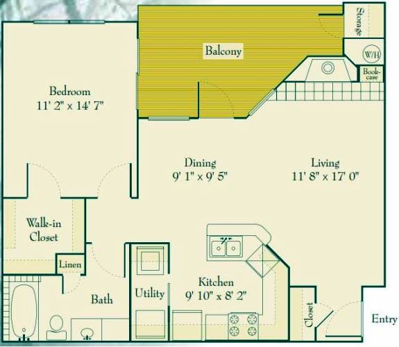 771 sq. ft. to 821 sq. ft. A1 floor plan
