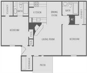 917 sq. ft. floor plan