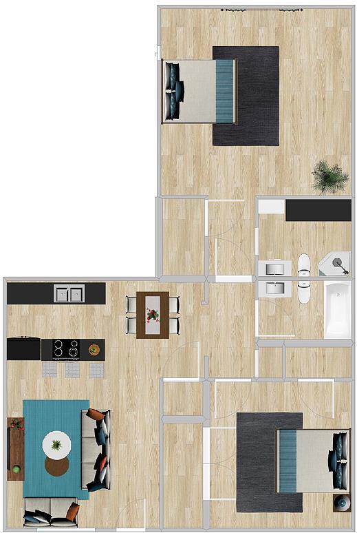 891 sq. ft. floor plan