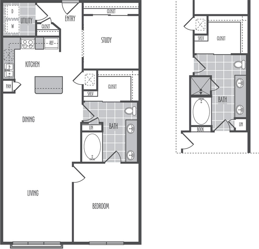 1,139 sq. ft. F2 floor plan