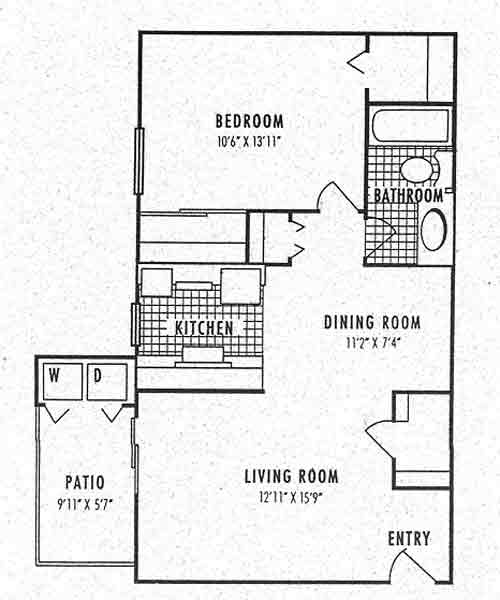 700 sq. ft. 2A floor plan