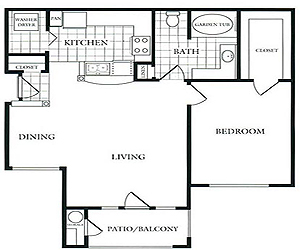 796 sq. ft. C floor plan