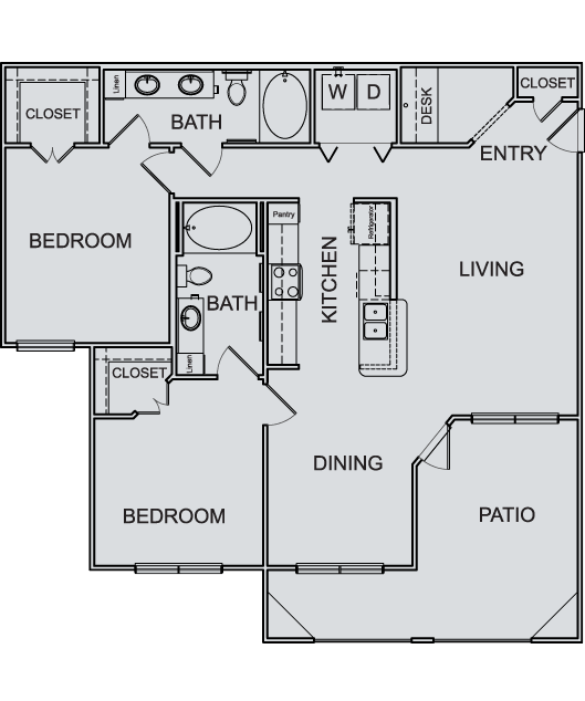 1,195 sq. ft. B4 floor plan