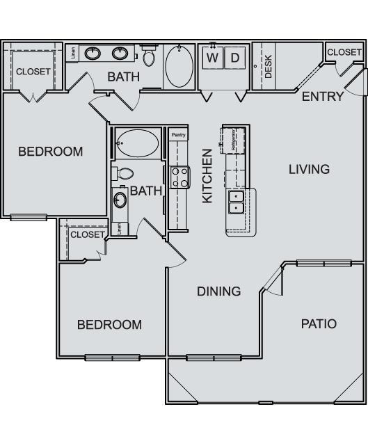 1,195 sq. ft. B4 floor plan